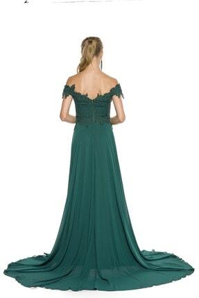 Abiye Sarayı Yeşil Güpür Işlemeli Düşük Omuzlu Şifon Abiye Elbise 4