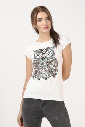 Tena Moda Kadın Ekru Baykuş Baskılı Tişört 1