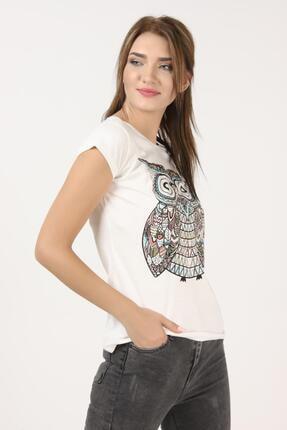 Tena Moda Kadın Ekru Baykuş Baskılı Tişört 3