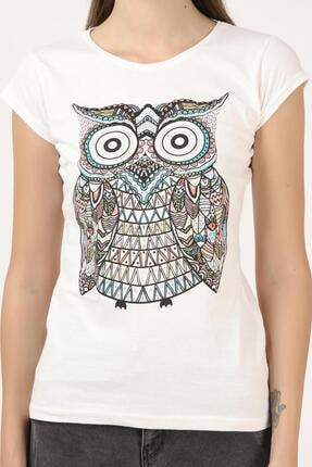 Tena Moda Kadın Ekru Baykuş Baskılı Tişört 4