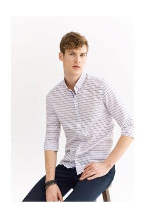 Avva Erkek Açık Pembe Enine Çizgili Düğmeli Yaka Slim Fit Gömlek A01y2111 0