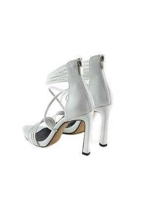 LuviShoes 115 Beyaz Cilt Kadın Topuklu Ayakkabı 2