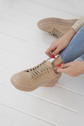 Straswans Papel Bayan Deri Spor Ayakkabı Bej 2