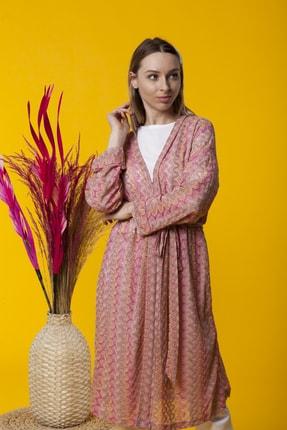 Benna Zig Zag Desenli Yazlık Kimono 0