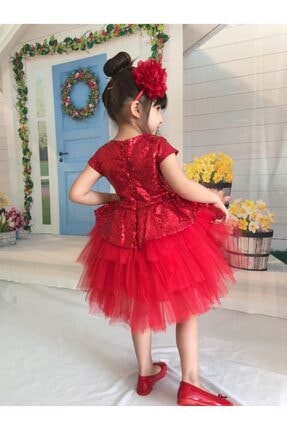 Buse&Eylül Bebe Kırmızı Pul Payet Kız Çocuk Elbisesi 3