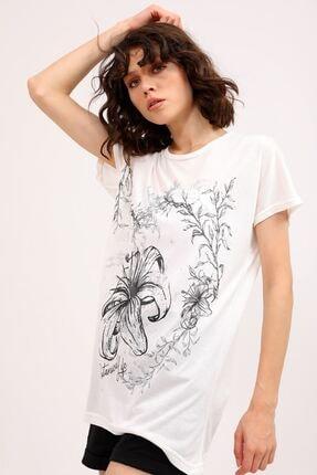 metropol tekstil Krt-066 Desenli Tshirt Krem 3
