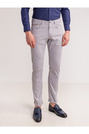 Dufy Gri Pamuk Likra Karışımlı Erkek Pantolon - Modern Fit 0