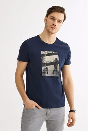 Avva Erkek Lacivert Bisiklet Yaka Baskılı T-shirt A01y1021 1