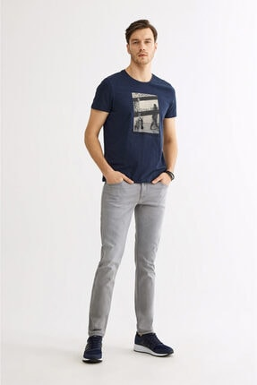 Avva Erkek Lacivert Bisiklet Yaka Baskılı T-shirt A01y1021 3