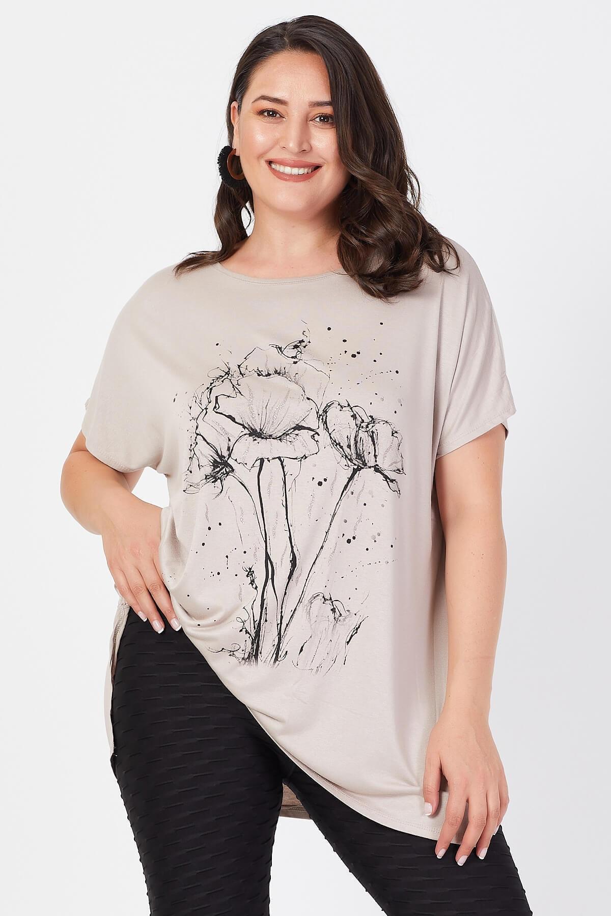 1 org zoom Büyük Beden Bej Salaş Deste Çiçek Baskılı T-shirt