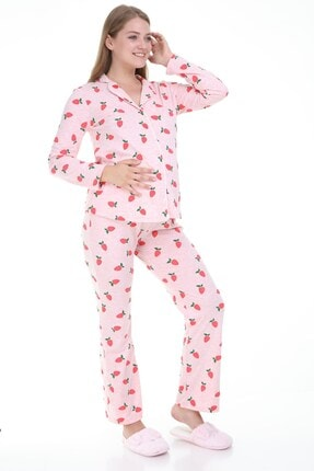 MYRA by LuvmaBelly Luvmabelly Myra9531 Düğmeli Biyeli Hamile Pijama Takımı - Pembe 1