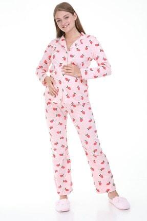 MYRA by LuvmaBelly Luvmabelly Myra9531 Düğmeli Biyeli Hamile Pijama Takımı - Pembe 2