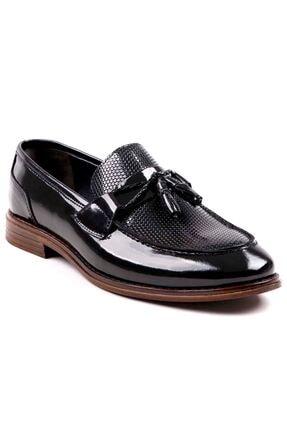 MPP Hakiki Deri Loafer Erkek Ayakkabı Trs508 Rugan Siyah 0