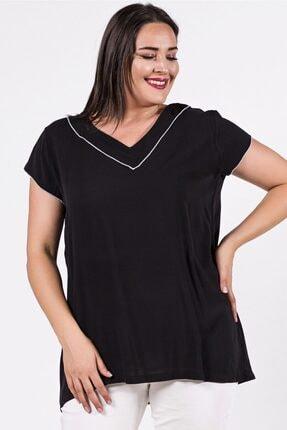 Womenice Büyük Beden Siyah Yakası Kolu Sufle Bluz 0