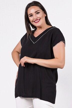 Womenice Büyük Beden Siyah Yakası Kolu Sufle Bluz 1