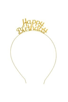 Deniz Party Store Happy Bırthday Metal Taç Doğum Günü Taci Gold 0
