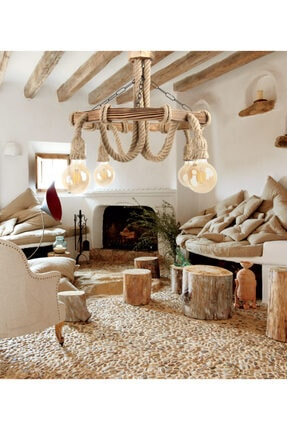 Zümra Ahşap Ahşap Avize Dekoratif Doğal Halatlı Avize Salon Balkon Cafe Otel Kamelya Için Ahşap Avize 1