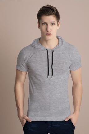 Tena Moda Erkek Gri Melanj Kapüşonlu Düz Tişört 0