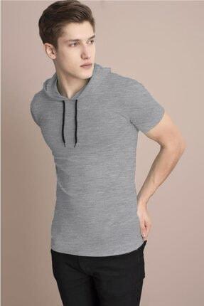 Tena Moda Erkek Gri Melanj Kapüşonlu Düz Tişört 2
