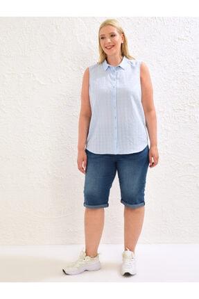 LC Waikiki Kadın Mat Mavi  Gömlek 1