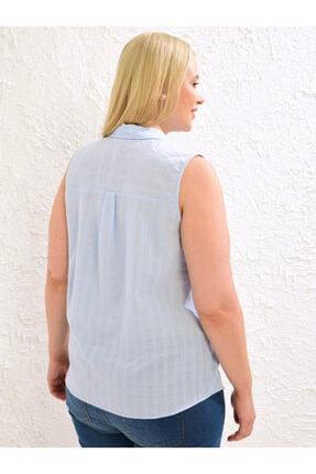 LC Waikiki Kadın Mat Mavi  Gömlek 3