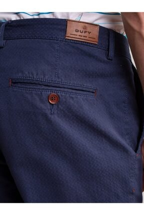 Dufy Lacivert Aksesuar Detaylı Armür Pamuklu Likra Erkek Pantolon - Modern Fit 4