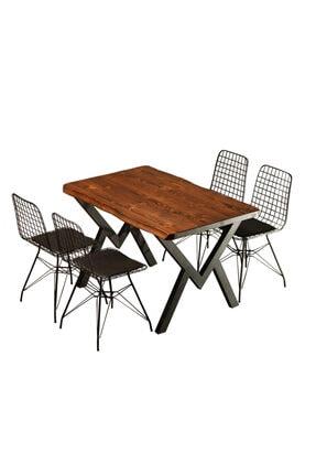 Sağıroğlu Ahşap Doğal Ahşap 4 Kişilil Mutfak Çalışma Toplantı Bahçe Ofis Yemek Masası 80x120 0