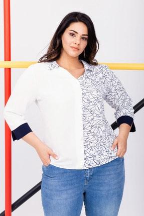 Kadın Beyaz Büyük Beden Desenli Bluz resmi