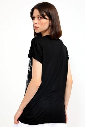 metropol tekstil Krt-046 Desenli Tshirt Siyah 4