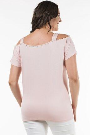 Womenice Büyük Beden Pudra Yakası Incili Askılı Bluz 3