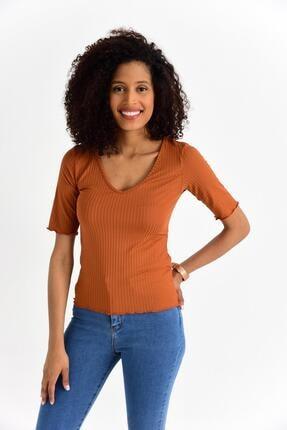 Tena Moda Kadın Kiremit V Yaka Mendil Dikiş Kaşkorse Tişört 1