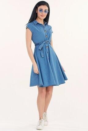 Fullamoda Kuşaklı Kot Elbise 2