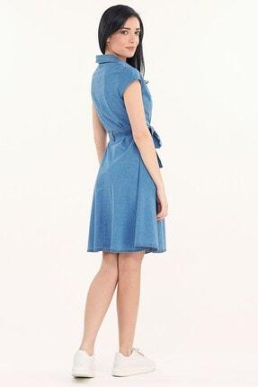 Fullamoda Kuşaklı Kot Elbise 4