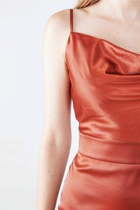 My love butik Saten Yarım Degaje Askılı Elbise 3