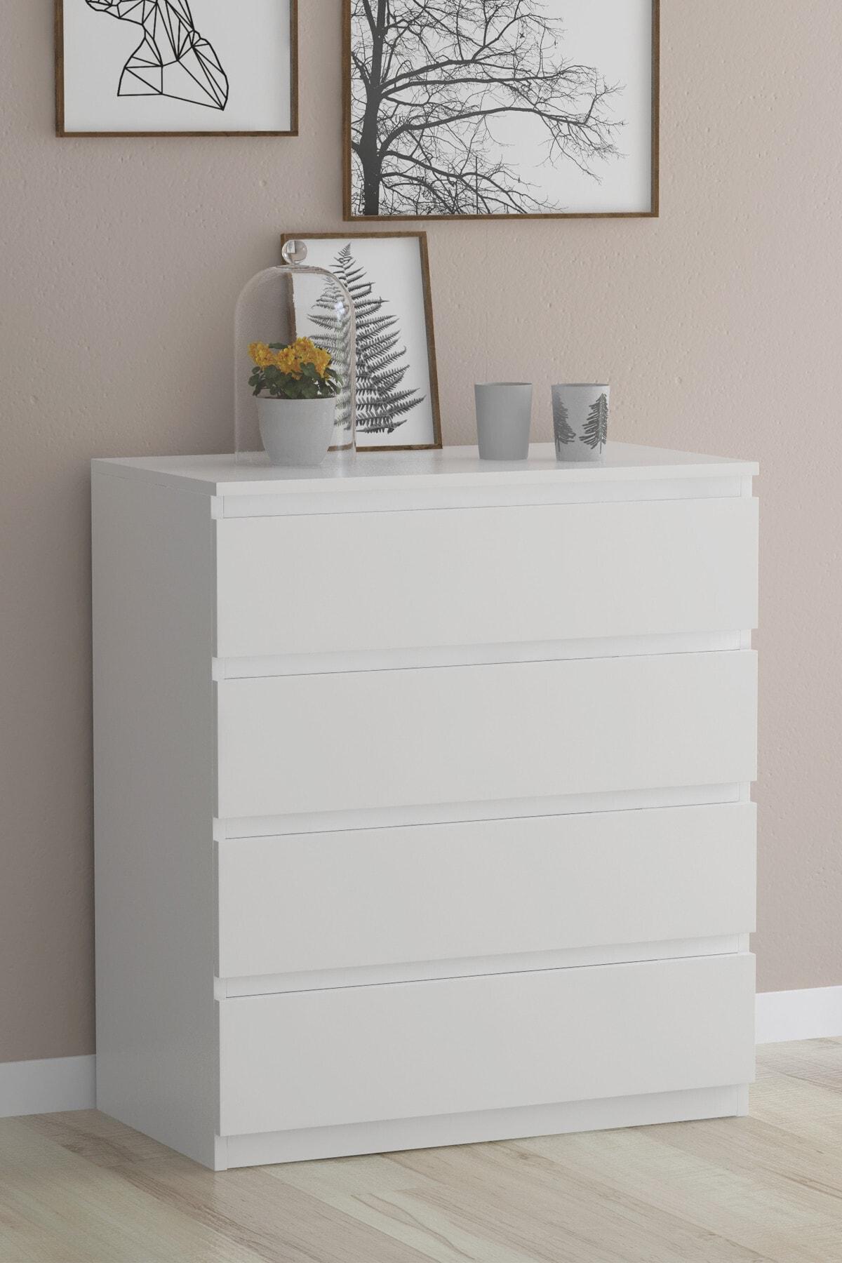 Şifonyer Yatak Odası Mobilyası 4 Çekmeceli Şifonyer Beyaz