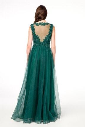 Abiye Sarayı Yeşil Güpürlü Sırt Detaylı Uzun Abiye Elbise 2