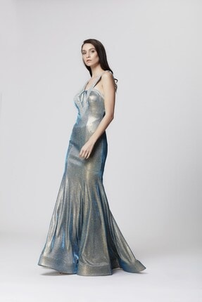 Abiye Sarayı Mavi Askı Ve Sırt Detaylı Simli Uzun Balık Abiye Elbise 1