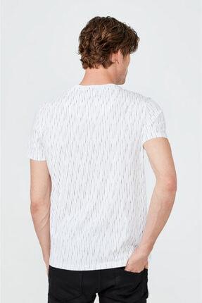 Avva Erkek Beyaz V Yaka Baskılı T-shirt A02y1040 2