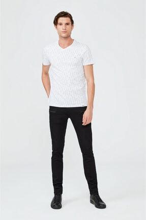 Avva Erkek Beyaz V Yaka Baskılı T-shirt A02y1040 3
