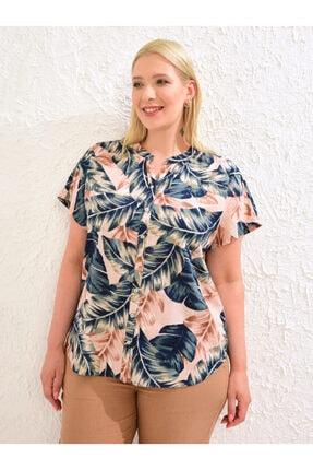LC Waikiki Kadın Pembe Baskili  Gömlek 0