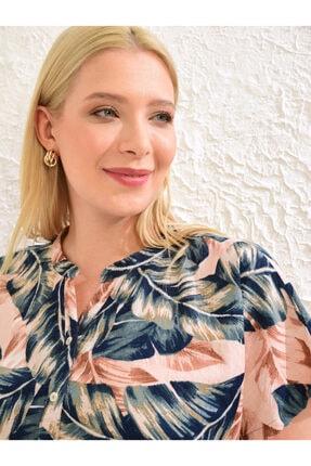 LC Waikiki Kadın Pembe Baskili  Gömlek 4
