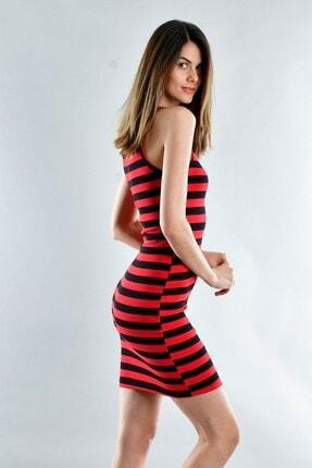 Cotton Mood 20071620 Kaşkorse Ip Askılı Elbise Sıyah Kırmızı Kalın Cızgılı 1