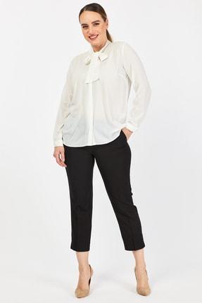 PERA CLUB Büyük Beden Fular Özellikli Beyaz Gömlek 1
