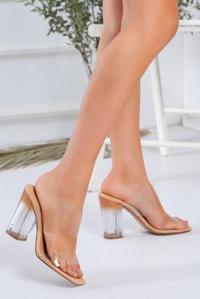 LUKKA Kadın Nude Şeffaf Topuklu Sandalet 1
