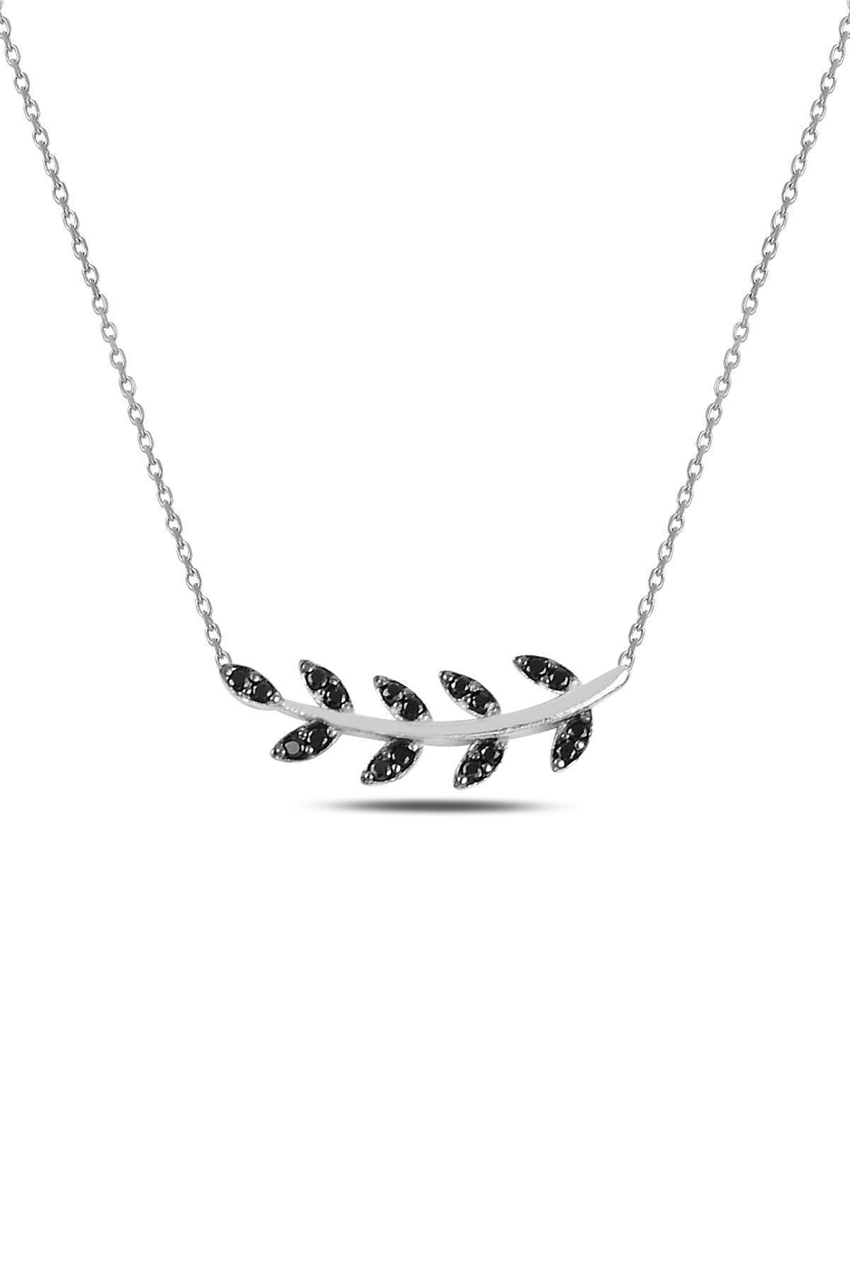 Gümüş Rodyumlu Siyah Taşlı Yaprak Kolye