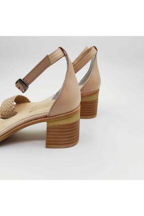 Dericlub Nk315 Bej Kadın Tek Bant Topuklu Deri Ayakkabı 2