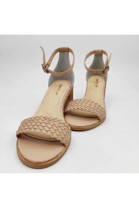 Dericlub Nk315 Bej Kadın Tek Bant Topuklu Deri Ayakkabı 3
