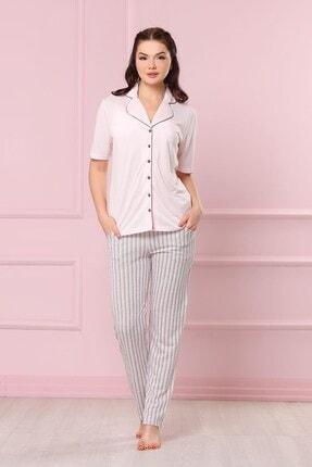 Pudra Uzun Altlı Kadın Pijama Takımı OBJE6809