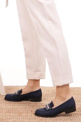 Mio Gusto Matilda Lacivert Süet Taşlı Oxford Ayakkabı 1