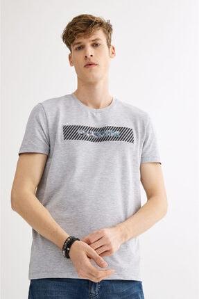Avva Erkek Gri V Yaka Gofre Baskılı T-shirt A01y1024 1